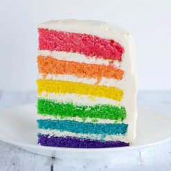 Slice of Rainbow Layer Cake