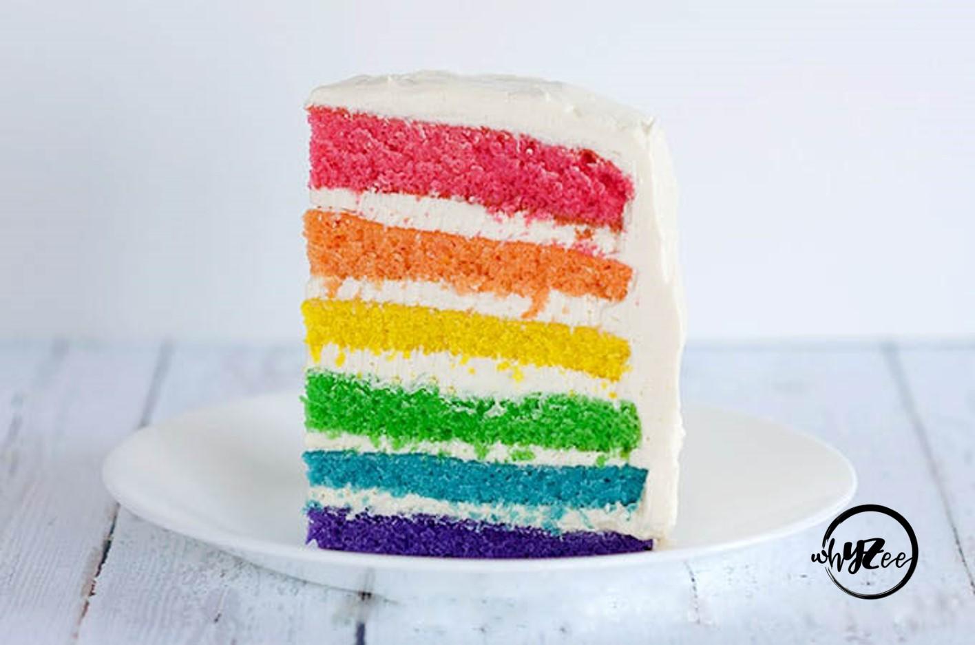 Slice of Rainbow Layer Cake
