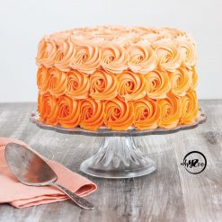 Orange Ombre Rosette Cake - Whyzee Birthday Cake Delivery