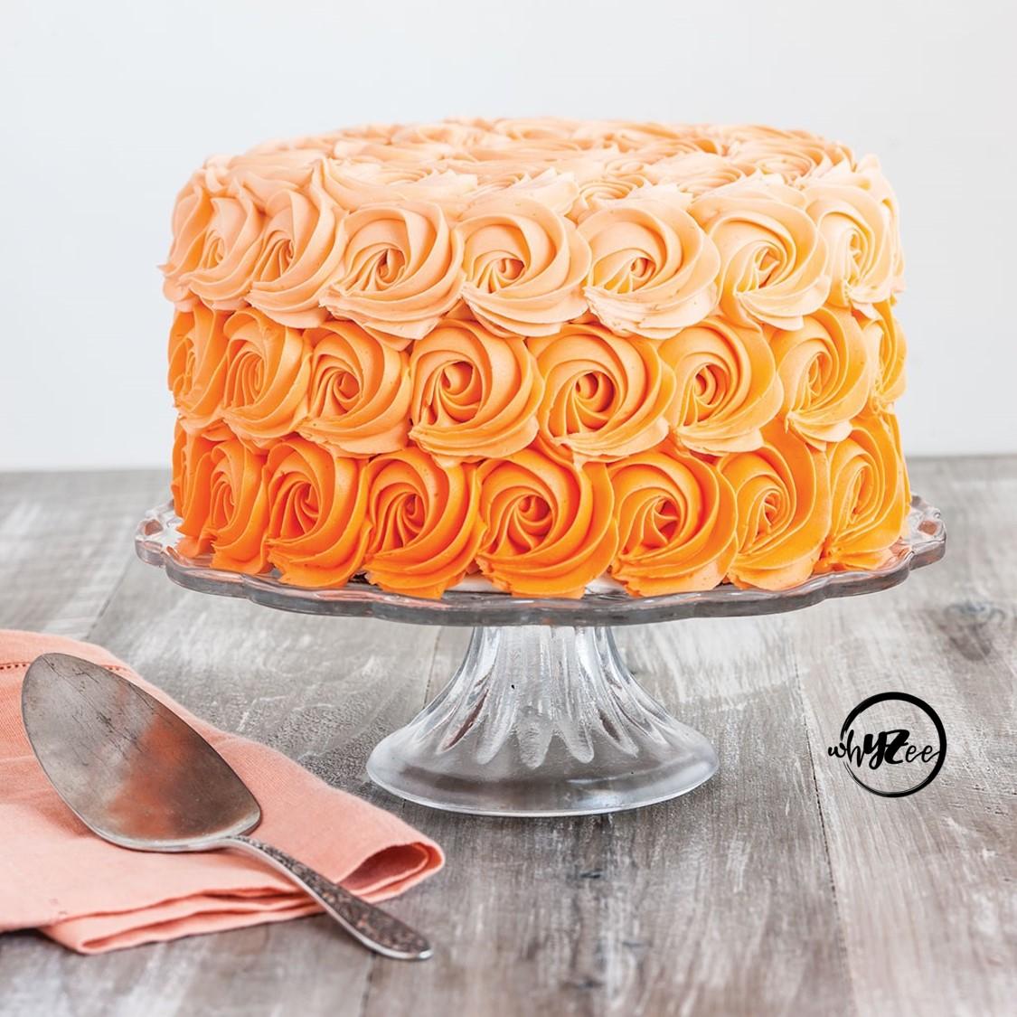 Peachy Ombre Rosette Cake Whyzee Birthday Cake Delivery Funny Birthday Cards Online Hetedamsfinfo